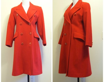60s Red Peacoat XS Small Wool Retro Vintage