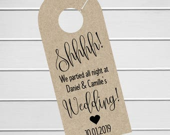 Wedding Door Hanger, Custom Hotel Door Hangers, Destination Wedding Welcome Bag  (DH-219-KR)
