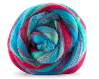 Brand New Blend ~ Under the Sea ~ Merino & Glitter aka Stellina Combed Top ~ 4 ounces to Spin, Felt, Create Fiber Art
