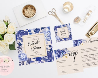Blue and Gold Floral Wedding Invitation Suite, Blue and Gold Wedding, Square Invitation, Floral Wedding, Rsvp Card, Accommodations Card