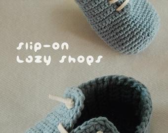 Slip-On Toddler Lazy Shoes Size 4, 6, 7, 8, 9 Booties Sneaker Socks Slip On Home Slippers Crochet Pattern (SLS02-B-PAT)