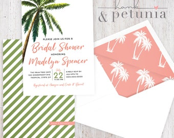 Tropical Palm Tree Bridal Shower Invitation, Tropical Bachelorette Party Shower Invitation, Island Bridal Shower Invite, Envelope Liner
