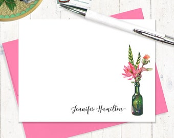 Personalized Stationery Set - set of 12 flat note cards - lotus flower stationary - Watercolor Flowers in GREEN WINE BOTTLE