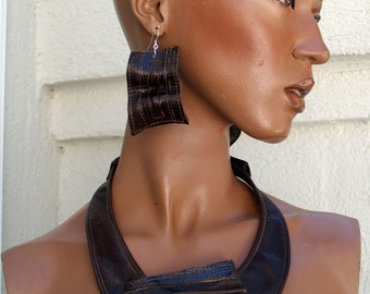 Brown Leather and Embossed Croc Sculpted Dangle Earrings with Sterling Silver Hooks