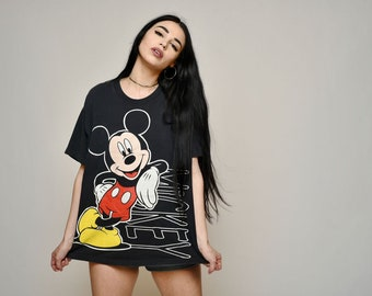 Rare Mickey Mouse Jacques Moret noir Mickey Vintage Tshirt