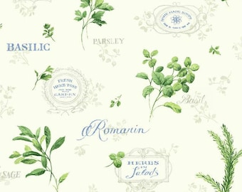Fragrant Garden Herbs Kitchen Wallpaper - Blue, Green, White, Fresh Country Toile, Botanical, Script, Words - Sold By The Yard - KH7048 CO