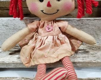 Raggedy Annie Primitive Dolls Lil Sue Annie Raggedy Ann Doll Pink Dress Annie Doll