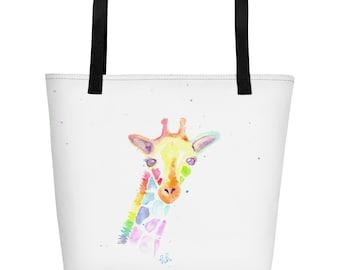 Watercolor Rainbow Giraffe Beach Tote, With Message On Inside Pocket - beYOUtiful