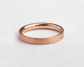 Men Wedding Band Ring Rose Gold, Man Minimal Wedding Ring, Rose Gold Band Comfort Fit, 14kt 18kt Solid Gold Simple Wedding Ring