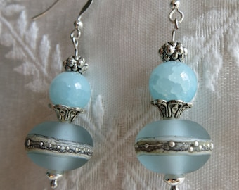 Blue & Silver Bubble Drop Earrings, SE-284