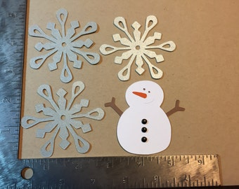 1 Snowman and 3 Silver Shimmer Snowflake Die Cuts