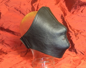Leather eye mask stitched double-layer, solid