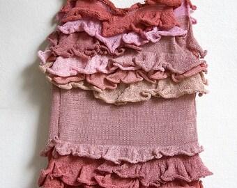 ruffle knitted pink tank