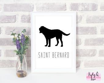 INSTANT DOWNLOAD-Saint Bernard Silhouette  PRINTABLE-Dog Art-Home Decor