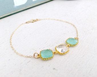 Mint  Bracelet Bridesmaid Bracelets 14k gold filled Crystal bracelet Stacking bracelet Turquoise Mint Green Aqua Beach wedding Bridesmaid
