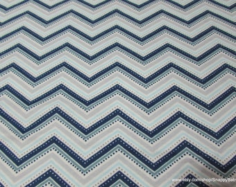 Flannel Fabric - Navy Grey Chevron - By the Yard - 100% Cotton Flannel