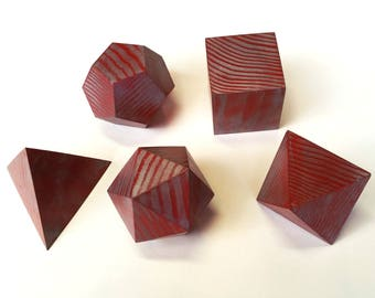 Platonic Solids with Antique Red and Silver Finish
