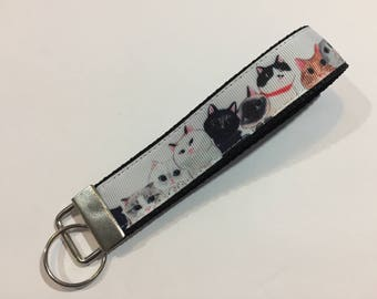 Cats in a Line Keychain Wristlet Key Fob