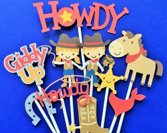 Cowboys cupcake toppers, cowboy birthday party toppers, cowboy party, birthday party cowboy or cowgirl, cowboy theme, wild west toppers