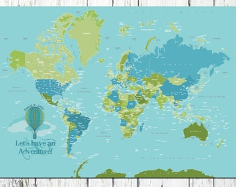 World Map decal, Decal for kids, 50x70, Travel Artwork, Travel gift, Farewell, Gift for home, Map for kids