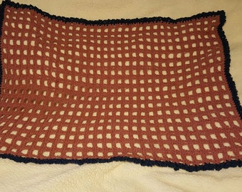 Crochet Baby blanket, Mauve and Blue