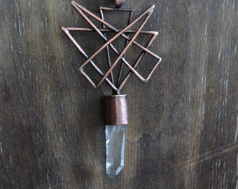 Geometric copper pendant, quartz crystal, game of thrones, triangles, sharp jewelry
