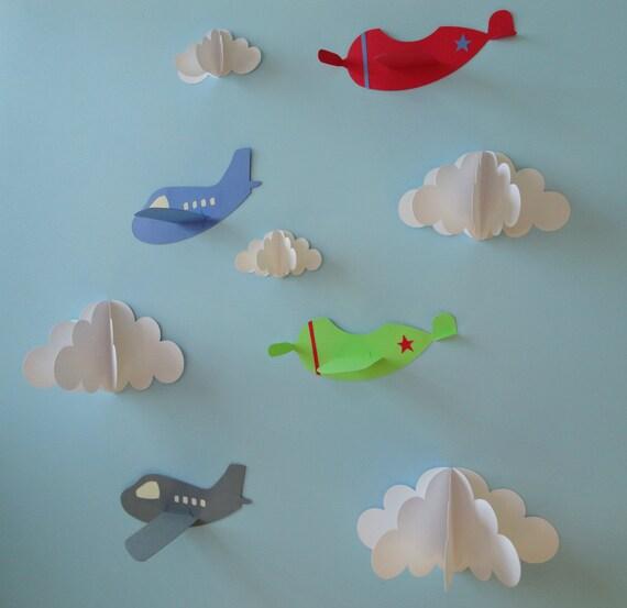 & Airplane Wall Decals Plane Wall Decals Planes and Clouds 3D