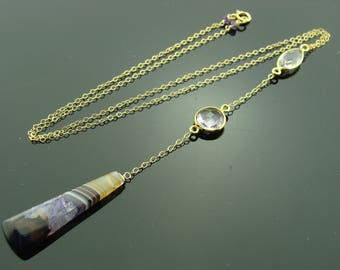 Amethyst and Purple Agate 14k Gold Filled Gemstone Y Necklace