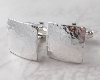 Inspirational, Sterling silver cufflinks, textured square cufflinks, personalized cuff links, mens personalized cufflinks