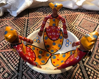 African pottery hand painted bowl