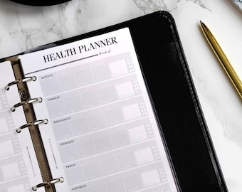 Food & Fitness Journal PRINTED Personal Planner Inserts | Medium Kikki K Printed Planner Pages | Personal Size Filofax Inserts, LV MM Refill