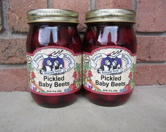 Amish Wedding Foods Pickled Baby Beets TWO 15oz Jars