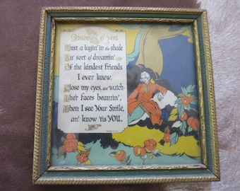 "Small Vintage Motto Print ""Thinkin' o' You"" Buzza Style Motto in Frame"