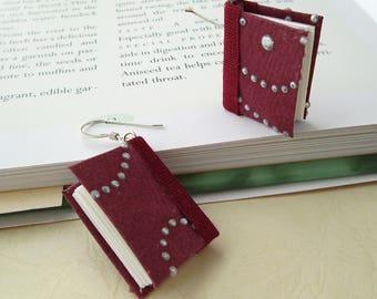 Mini Book Earrings- Silver Drops on Burgundy Book Earrings