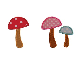 """Mushroom Set Machine Embroidery Designs Applique Pattern in 4 sizes 3"""", 4"""", 5"""" and 6"""""""