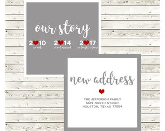 Jefferson Moving Announcement, New Home Announcement, New Address, Printed Moving, Printable Moving, Digital Announcement, Double Sided