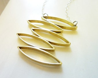 Falling Leaves Brass Pendant Necklace, Geometric Soldered Brass, Mid-Century Modern, Everyday Gold Jewelry, Sterling Silver Chain
