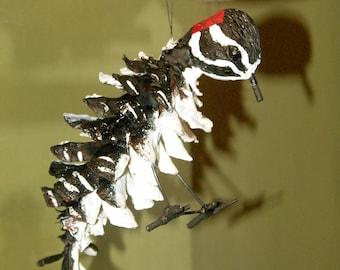 Downy Woodpecker Adirondack Pinecone Figurine Ornament