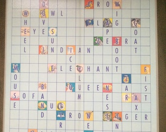 Vintage Blue Scrabble Game Board (only) Print On Each Side - In Excellent Condition