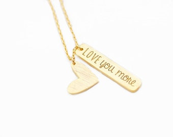 "Tiny Gold ""Love You More"" Necklace - Dainty, Simple, Birthday Gift, Wedding Bridesmaid Gift"