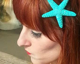 Starfish, ocean, Teal, Glitter, tropical wedding, bridal, starfish barrette, starfish hair clip, fish, ocean clip,beach, mermaid
