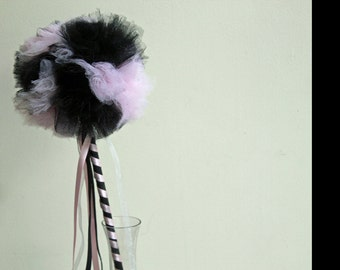 Pink and Black  Wand, Pom Pom Wand, Magic Wand, Weddings, Princess Wand, Tulle Wand,  Costume Accessory, Dress Up, Party Wand