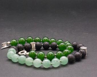 Green Jade and Lava Stone Necklace, Elegant Gemstone Beaded Necklace, Unique Santorini Black and Green Necklace, Lava Jewelry, Jade Jewelry