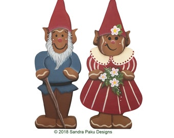 E-pattern_ gingerbread_gnome_couple_tole painting pattern by Sandra Paku e-pattern only