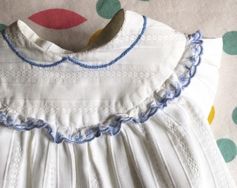 Vintage 50s baby mixed guimpe structured white cotton, 1 to 3 months