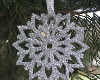 Set of 5, Wooden Glitter Snowflake Ornaments