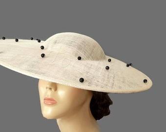 Cream hat with crystal beads, Kentucky derby hat, Cream Ascot hat, Black races hat, Womens dress hats cream, Cream wedding hat,Tea party hat