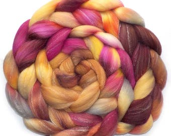 Roving Targhee Bamboo Silk, Handdyed Combed Top, Misty Necarine, 5.1 oz.