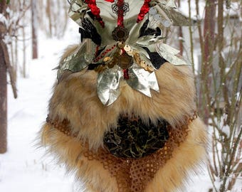 Vikings, armor, LARP, fantasy, steampunk, eco leather, wild woman, breast plate, gold faux fur, Game of thrones inspired, warrior woman,fire