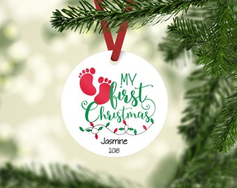 Baby's First Christmas ornament, baby feet ornament, personalized christmas ornament, Keepsake ornament, child's christmas ornament